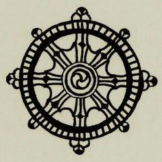 dharma wheel tattoo - would look awesome as a helm Rad Tattoo, Karma Tattoo, Doodle Tattoo, Mandala Tattoo, Tattoo You, Dharma Rad, Dharma Wheel, Wheel Tattoo, Compass Tattoo