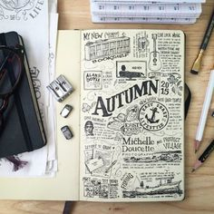 Autumn Art Journal Page Sketch Journal, Journal Notebook, Journal Pages, Journal Design, Journal Art, Art Journals, Nature Journal, Arte Sketchbook, Fashion Sketchbook