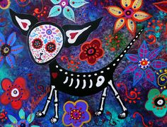 El Perro Chihuahua Day of the Dead Painting