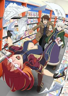 Re:Creators At a bookstore in Akihabara, Selesia discovers doujinshi. (Image from the official Re:Creators website)