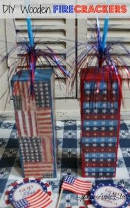 DIY Firecracker Summer Craft 3 painted wooden blocks glued together, mod podged patriotic paper, and a sparkler from the kid's craft section. Easy peasy and awesome for summer mantles or tables.
