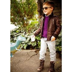 CrewCuts pants, sweater, and shirt; Gucci jacket,  AllSaints boots, Gucci shades | Alonso Mateo, The 5-Year-Old Boy Who's Become an Instagram Style Icon - The Cut