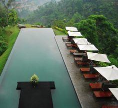 Infinity Pool- an infinity edge swimming pool located at the Ailia Ubud hotel in Ubud, Bali Amazing Swimming Pools, Swimming Pool Designs, Cool Pools, Epic Pools, Swimming Holes, Ubud Hotels, Ubud Villas, Infinity Pools, Beautiful Pools