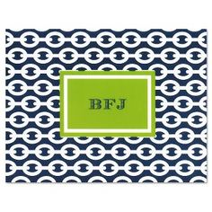 Folded Note Cards - Chain Navy and Green