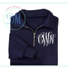 1/4 Zip Monogram Pullover - a must-have year round!      $28