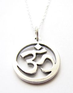 OM Jewelry Necklace Sanskrit Yoga Symbol Sterling by HeartProjects, $30.99