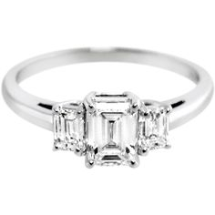 Symbol of your past, present and future together <3 Emerald Cut Diamond Trilogy Ring