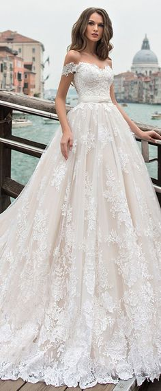 Fantastic Tulle Off-the-shoulder Neckline A-line Wedding Dress With Lace Appliques & Beadings #weddinggowns