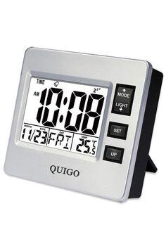 QUIGO Small Digital Travel Alarm Clock with DateTemperature, Snooze,Nightlight Bedroom Clocks, Bedside Clock, Desk Clock, Bedroom Office, Travel Alarm Clock, Digital Alarm Clock, Alarm Clocks, Sunrise Alarm Clock, Best Night Light