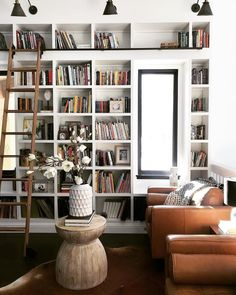 home library Leather Accent Chair Home Library Design, Office Interior Design, Office Interiors, House Design, Interior Design Living Room, Living Room Decor, Deco Boheme Chic, Bookshelves Built In, Bookshelf Ideas