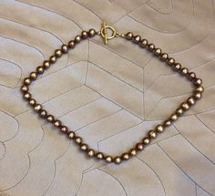 rose gold fresh water pearl knotted NECKLACE brass toggle clasp SOLD! Thanks Lynne ✨