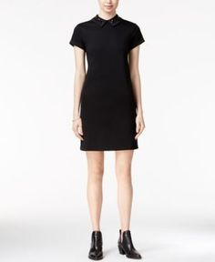 Maison Jules Embellished Collar Dress, Only at Macy's - Black XXL