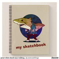 great white shark man walking funny cartoon#sketch #sketchbook #cartoon #drawing #cartoonist #design #designer #funny #humor #greatwhite #whiteshark #shark #animals #ocean #artwork #custom #zazzle