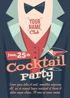 "Vintage Retro Cocktail / Birthday Party Invitation Invite Flyer Postcards 5"" x 7"""