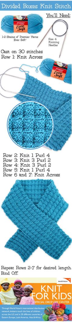 Divided Boxes Knit Stitch Scarf - Free Knitted Pattern: