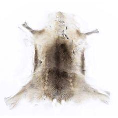 Tapis en peau naturelle de renne blanc et gris Sabatier