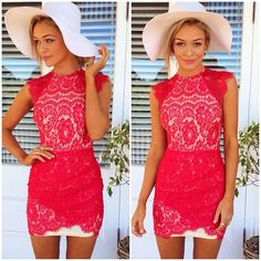 red lace dress, so cute!