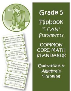 Fifth Grade Math Common Core Operations Algebraic Thinking I Can Cards! This is a must for any 5th grade teacher! $