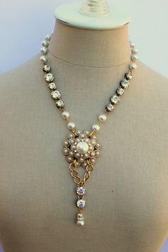 Vintage Pearl and Rhinestone Assemblage Necklace....Sabrina. $68.00, via Etsy.