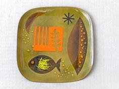 "Miguel Pineda Enamel on Copper Plate 10.5"" sq.  So Cool. $160 #etsy #midcentury #modern"