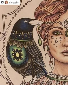 Great work in progress by @mcrpain in my coloring book Magisk gryning that I found scrolling through #hannakarlzon ✨With that I wish you a nice weekend, all of you!✨ #coloringbook #målarbok #magiskgryning #magicaldawn #wip #repost #adultcoloringbook #adultcoloring #colouringbook