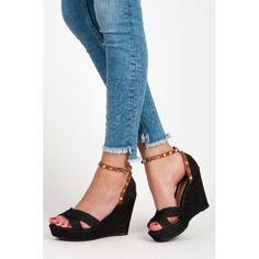 a764fec93ca Dámské sandály Abloom Lowem černé – černá Moderní džínové sandály na klínku  – to se jen