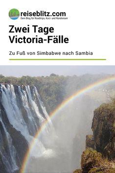 Die teils in Sambia, teils in Simbabwe gelegenen Victoria-Fälle sind ein Highlight einer Reise durchs Südliche Afrika. Wir sind zu Fuß von Simbabwe nach Sambia gegangen, um uns beide Seiten anzusehen und es hat sich sehr gelohnt! Beide, Niagara Falls, Trips, Nature, Travel, Zimbabwe, Round Trip, Travel Report, Beautiful Places
