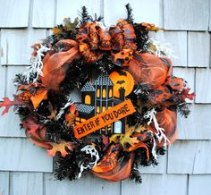 Halloween Wreath Haunted House Enter If You Dare Sign Bats Spiders Spooky on Etsy, $75.00