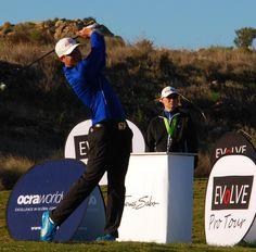 Lukas Bjerregaard tees off on his way to victory in the inaugural Evolve Pro Tour event at El Valle