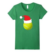 Women's Cute TENNIS BALL SANTA HAT Christmas T-Shirt Funny Xmas Tee Small Grass ** More info could be found at the image url.