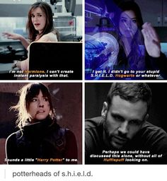 I think perhaps Hunter is the biggest Potterhead of all, cause his reference is the most obscure :))) --- Good point. Potterheads of SHIELD. Marvel Funny, Marvel Memes, Marvel Avengers, Avengers Memes, Iain De Caestecker, Fandoms, Agents Of S.h.i.e.l.d, Marvels Agents Of Shield, Agent Carter