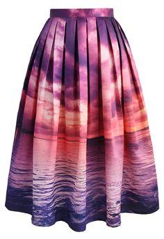 Purple Horizon Midi Skirt - New Arrivals - Retro, Indie and Unique Fashion