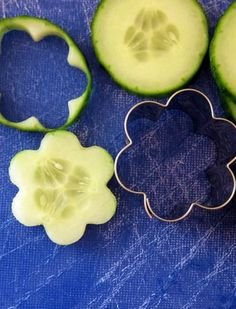 Garden Fresh Herbed Cucumber Bites.... use a cookie cutter to add a special touch to your next salad