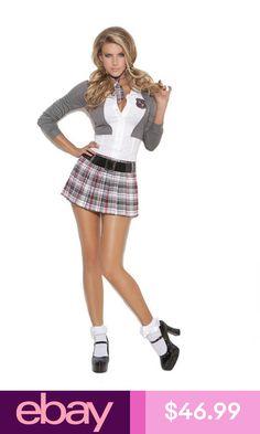 School Girl Costume Uniform Mini Dress Jacket Tie Plaid Queen of Detention 9153 Cheerleader Costume, School Girl Dress, Girl Outfits, Cute Outfits, Sexy Halloween Costumes, Costumes For Women, Sexy Women, Girls Dresses, Mini Skirts