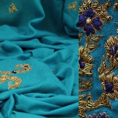 "Richa on Instagram: ""Firozi resham and zardozi work shawl avalable at #gaatha #shop #shawl #instafashion #blue #zardozi #handwork #embroidery #instapic #indian #fashion #gold #metallic #craft #handmade #richadesigns @richadesigns #shopping #musthave"""