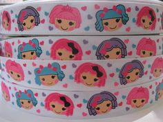 7/8 LALA LOOPSY Inspired Grosgrain Ribbon Lalaloopsy 5 Yards Making Hair Bow Supplies Printed Ribbon by the Yard we sell wholesale. $5.99, via Etsy.