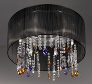 The Paralume with black silk taffeta shade on round chrome frame with stunning coloured Swarovski crystal elements. A show stopping light.