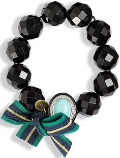 Juicy Couture Brentwood Prepster Beaded Stretch Bracelet in Black