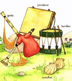 BANDA DE GAITA TRADICIONAL GALLEGA Instrumentos clave Asturian, Spain Culture, Lectures, Disney Characters, Fictional Characters, Drawings, Artist, Artwork, Folklore
