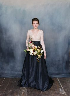 VALENTINA white lace and black stain wedding dress with long sleeves / http://www.deerpearlflowers.com/emily-riggs-bridal-romantic-lace-wedding-dresses/