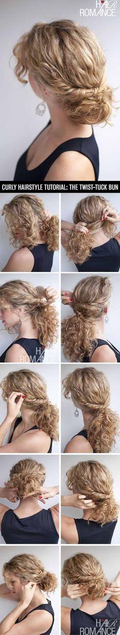 Hair Romance - curly hairstyle tutorial - the twist-tuck bun - Hairstyles & Haircuts Hair Romance Curly, Curly Hair Tips, Hair Dos, Curly Hair Styles, Natural Hair Styles, Wavy Hair, Kinky Hair, Updo Curly, Curls Hair