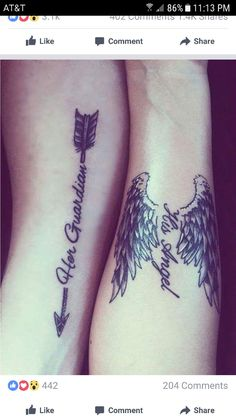 relationship tattoos A really cute couple tattoo. The tattoos work with the designs as each design symbolizes how the other partner is to the other partner. A really sweet and heartwarming design. Couple Tattoos Love, Love Tattoos, Unique Tattoos, Tattoos For Guys, Tattoos For Women, Tatoos, Couples Matching Tattoos, Matching Relationship Tattoos, Matching Tats