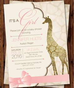 Giraffe Baby Shower Invitation Girl Invitation Giraffe Baby Shower