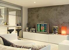 Vá de cimento queimado! - Na parede!!!!!! Pode ser atrás da cama. Home Theater Tv, Home Office, Sweet Home, Loft, House Design, Living Room, Architecture, Furniture, Home Decor