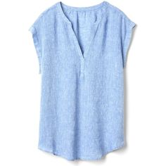 Gap Women Linen Cap Sleeve Popover Shirt ($40) ❤ liked on Polyvore featuring tops, relax shirt, gap shirts, blue shirt, linen tops and relaxed fit tops