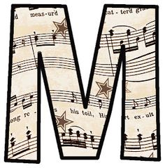 Free printable - Vintage Sheet Music: Alphabet Sets