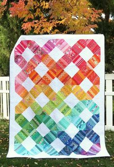Scrap Quilt Pattern idea - Rainbow Connection quilt by Amy Smart of Diary of a Quilter
