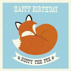 Rusty the fox birthday card