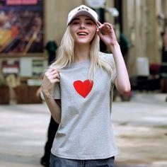 2016 Summer Women Heart Printed T Shirt Grey Plus Size XL XXL XXXL XXXXL 5XL Heart Print, Summer 2016, Plus Size, Printed, Grey, T Shirt, Women, Fashion, Gray