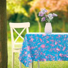 "Designer Jennifer Paganelli Blue with pink Tablecloth 60""x60"" $42.99"